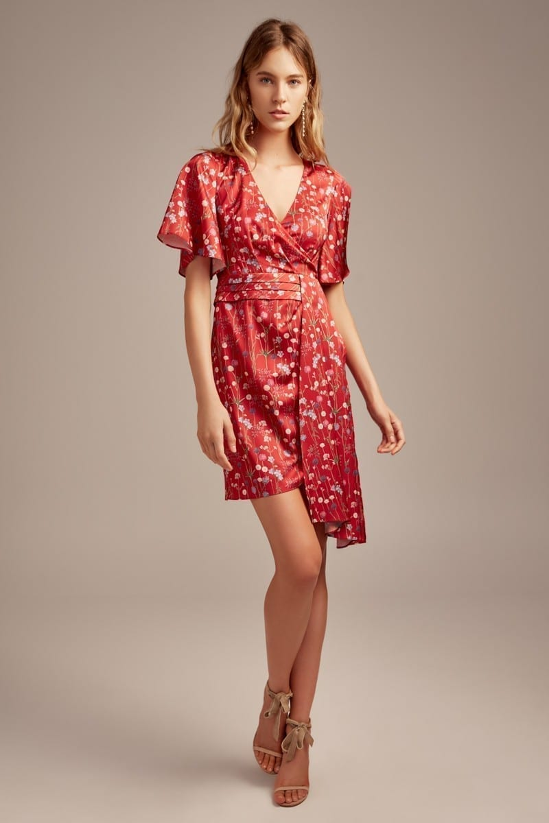 KEEPSAKE Hold Back Mini Scarlet / Floral Printed Dress