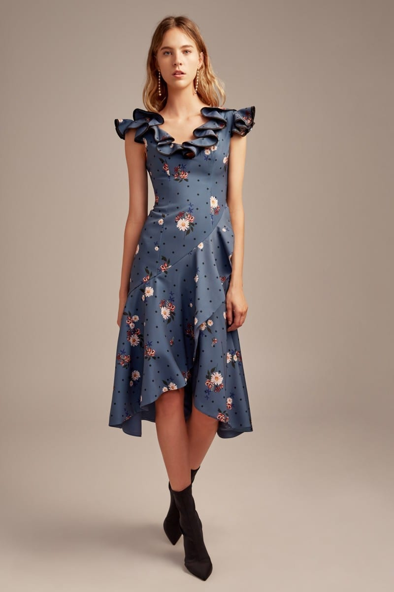 KEEPSAKE Run Free Midi Midnight / Floral Printed Dress