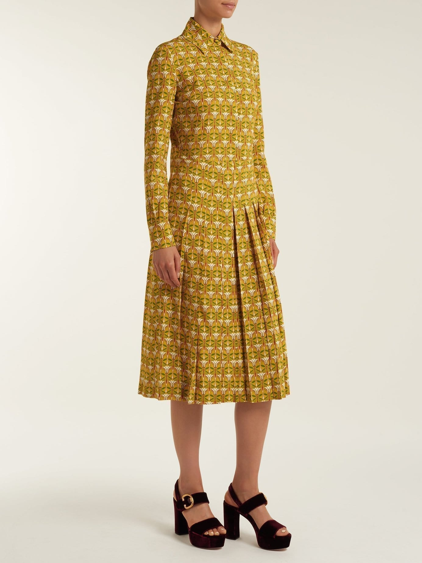LA DOUBLEJ EDITIONS Chemisier Libellule Print Pleated Shirt Yellow Dress