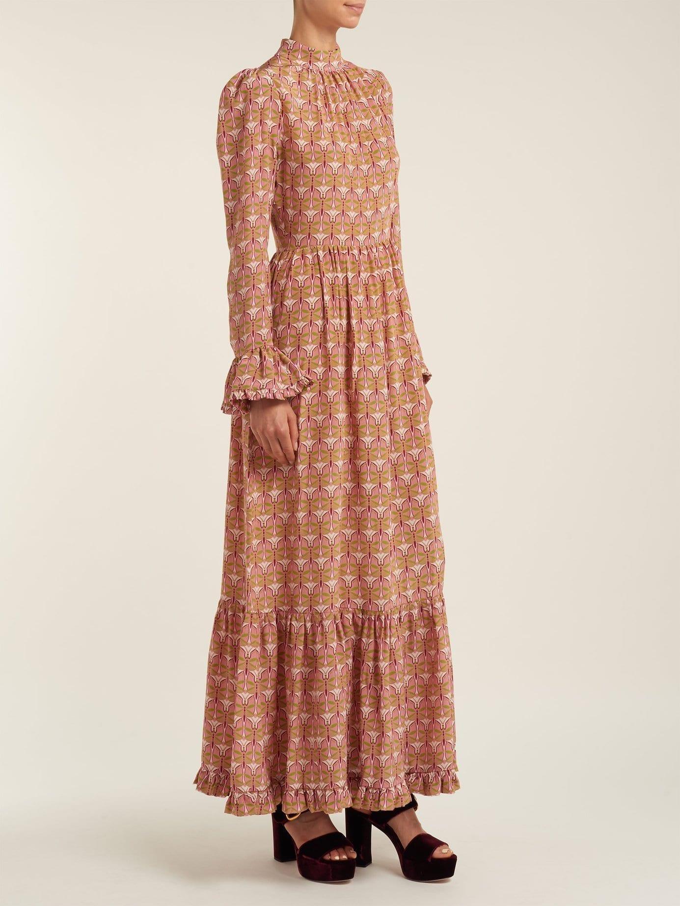 LA DOUBLEJ EDITIONS Visconti Dragonfly Print Silk Pink Dress