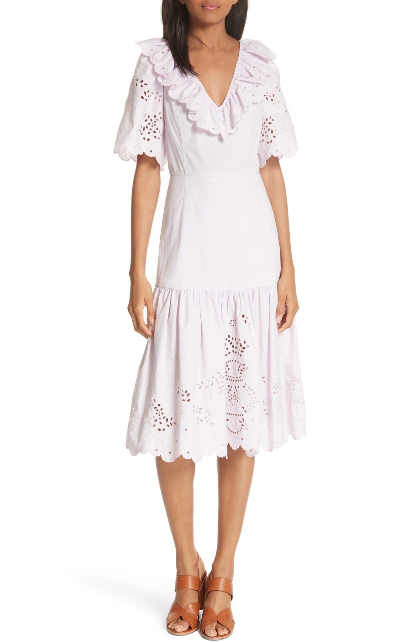 LA VIE REBECCA TAYLOR Eyelet Poplin Midi Lilac Dress