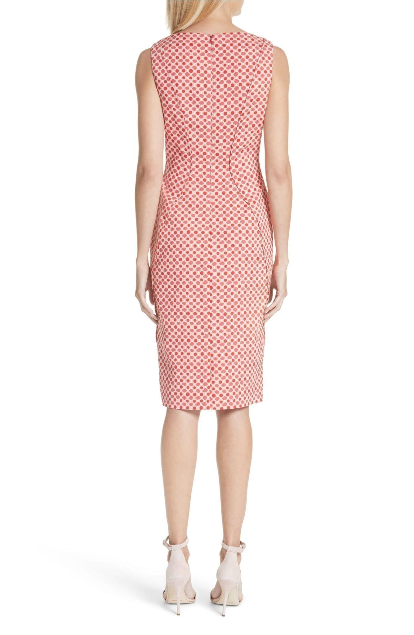 LELA ROSE Polka Dot Stretch Jacquard Sheath Red / Multicolored Dress ...