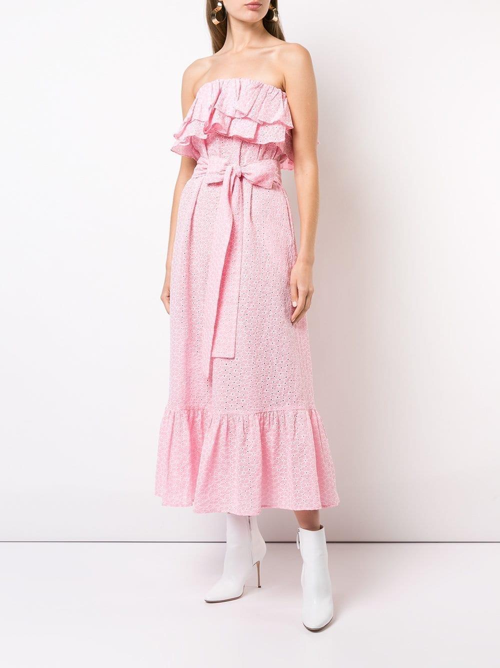 LISA MARIE FERNANDEZ Strapless Ruffle Midi Pink Dress