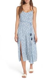 LOVE, FIRE Maxi Blue / Floral Print Dress