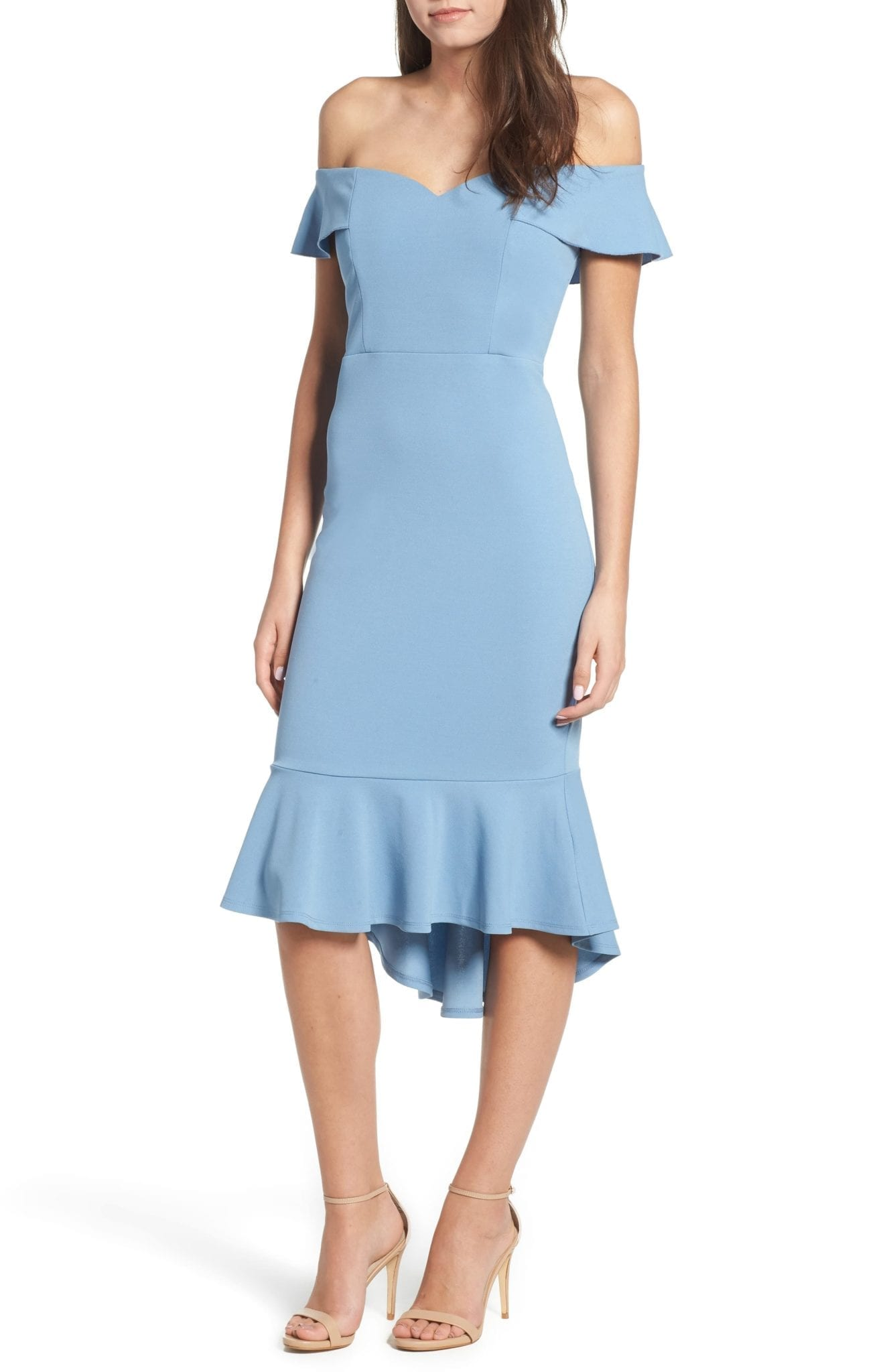LOVE, NICKIE LEW Sweetheart Midi Blue Dress