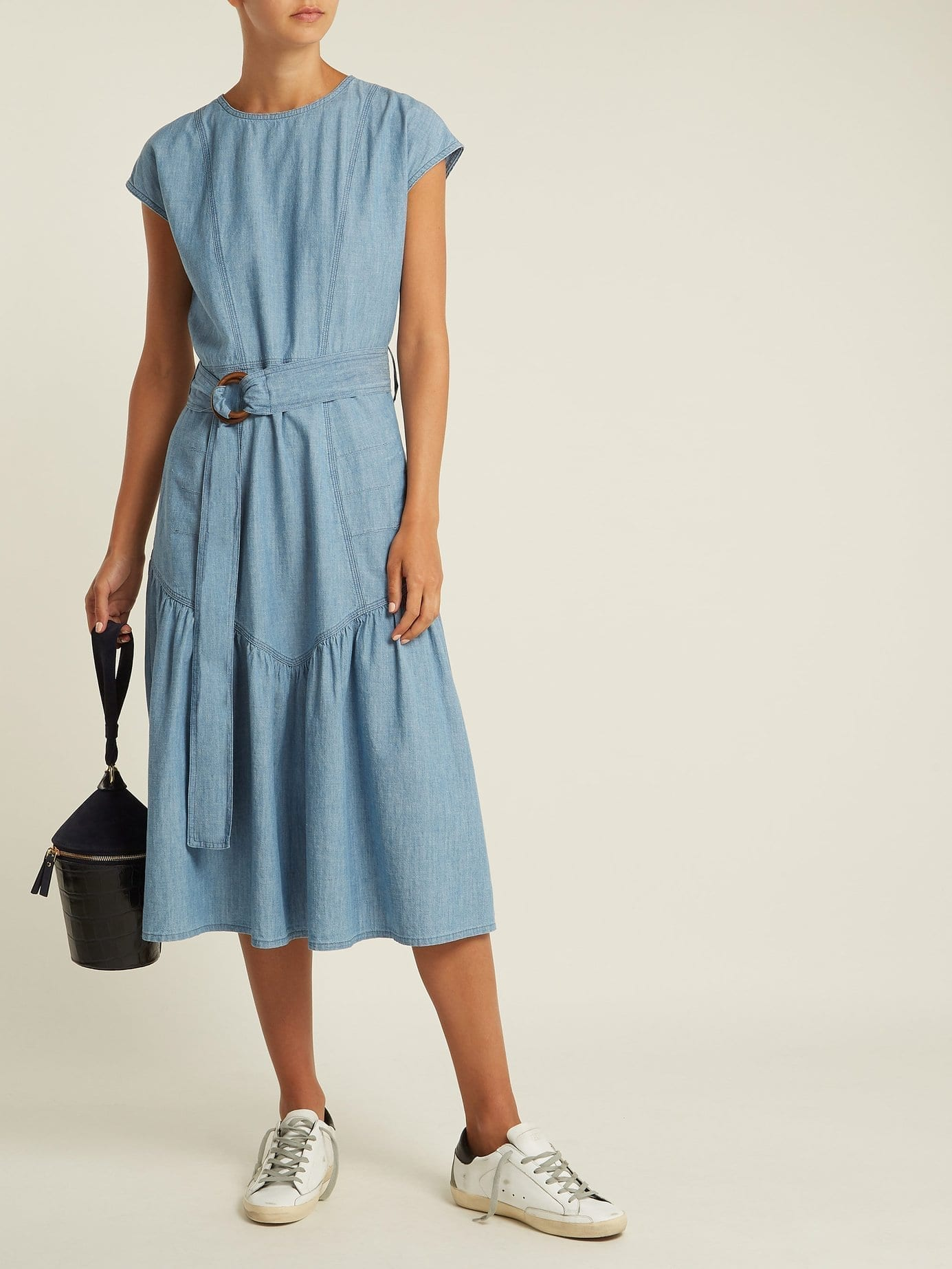 M I H Jeans Aubrey Chambray Midi Light Blue Dress