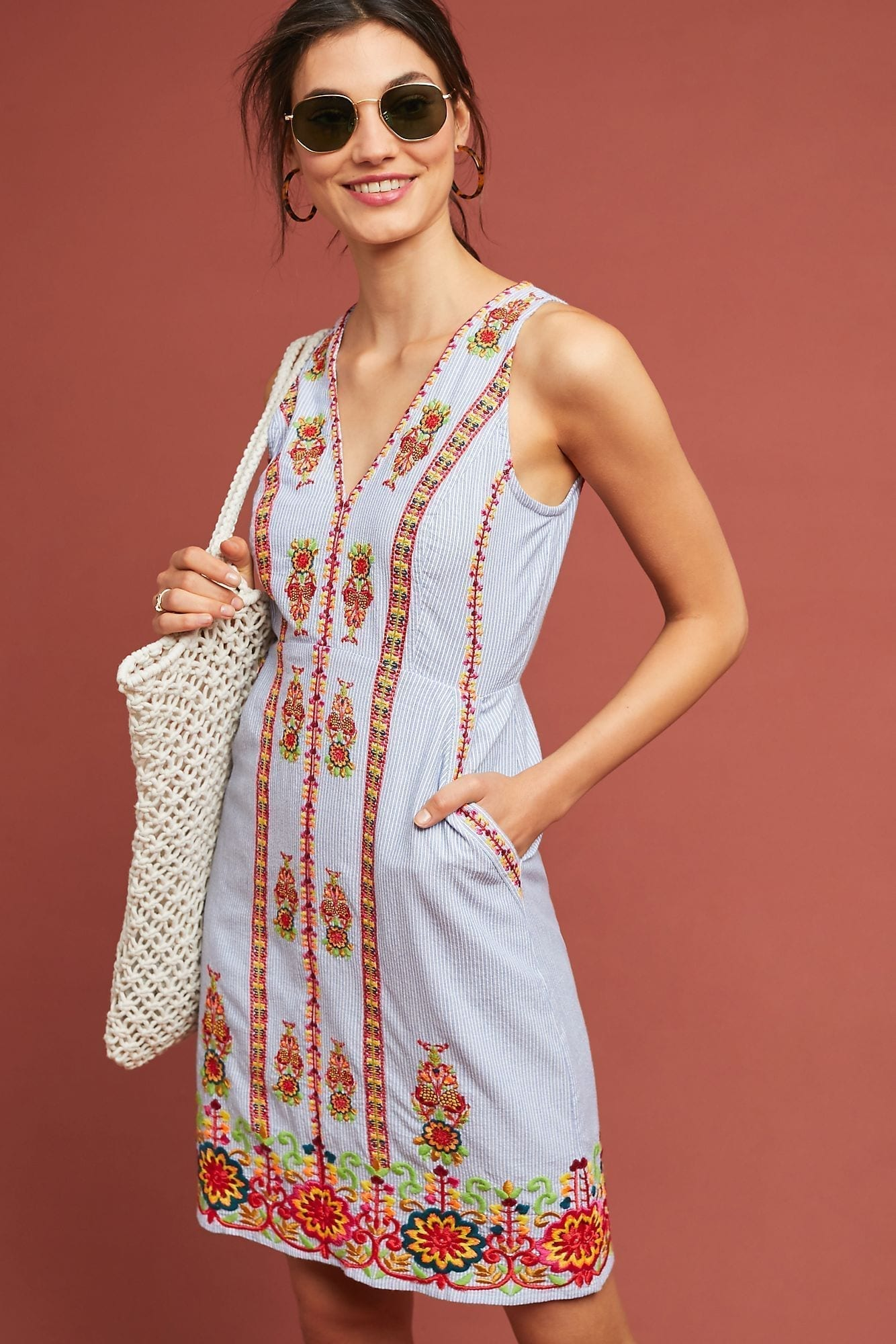 MAEVE Madeline Embroidered Shift Blue Dress