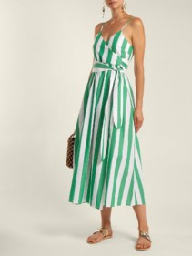 MARA HOFFMAN Alma Bungalow Stripe Wrap Green / White Dress