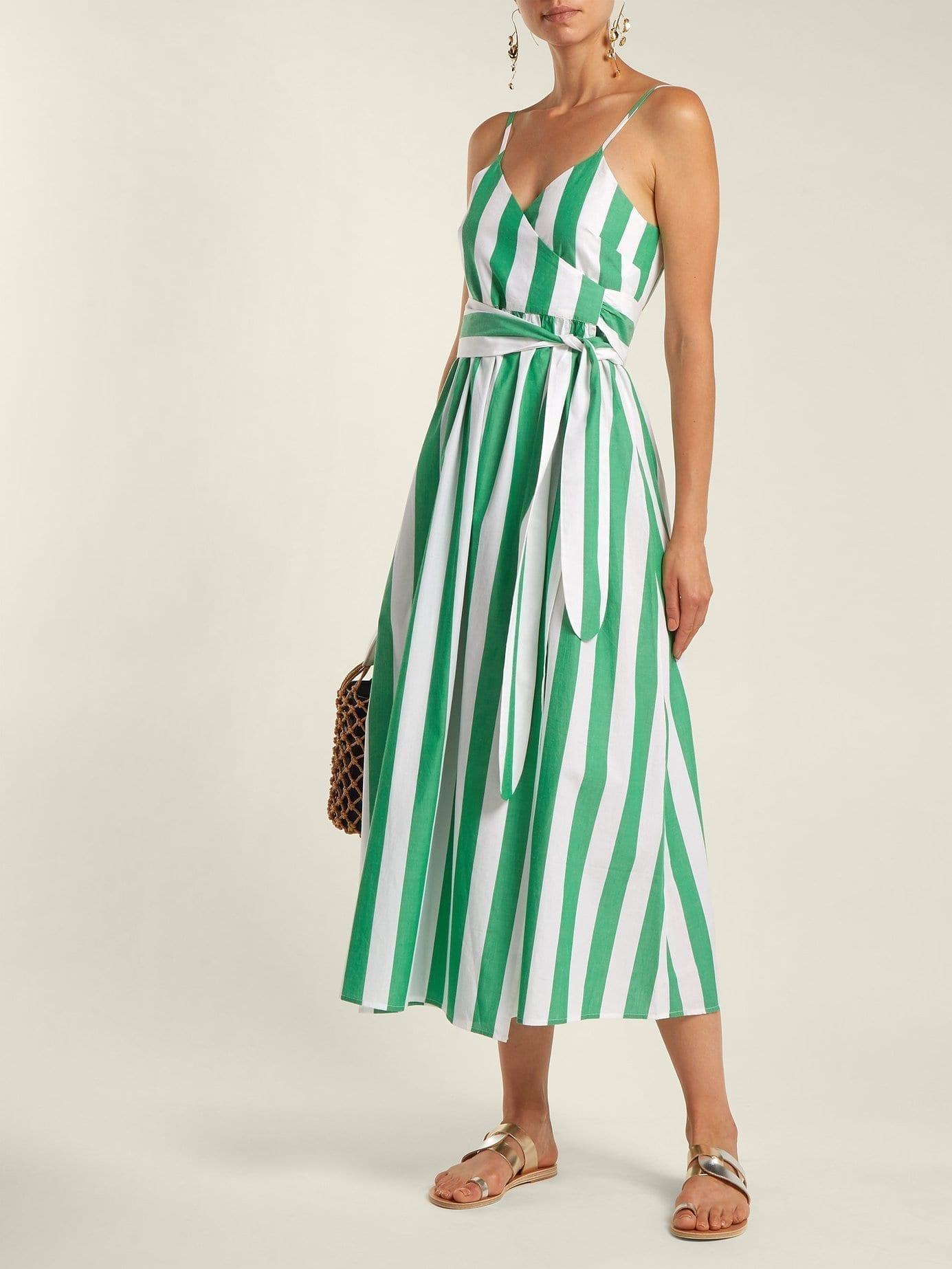MARA HOFFMAN Alma Bungalow Stripe Wrap Green / White Dress