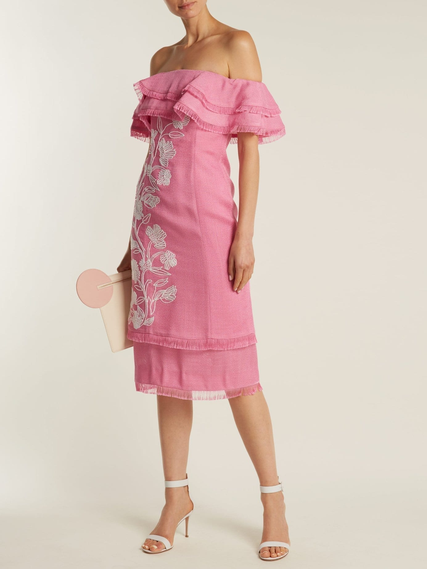 a1cc2933f166 MARY KATRANTZOU Angelica Embroidered Off The Shoulder Ruffle Magenta Dress