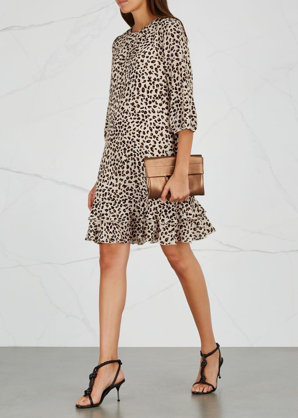 MAX MARA Egrege Silk Leopard Printed Dress