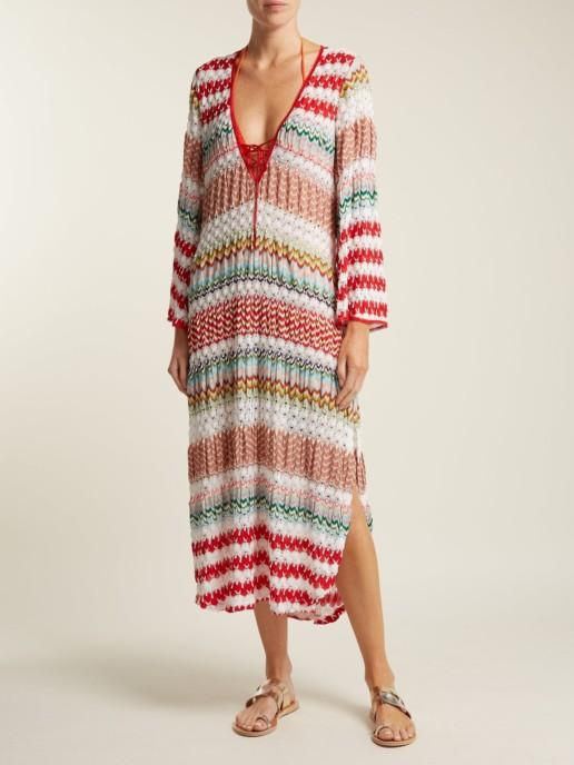MISSONI MARE Crochet Knit Kaftan White Dress
