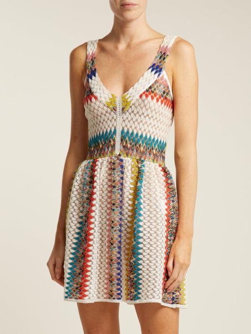 MISSONI MARE Riato Zig Zag Knit Mini White Dress