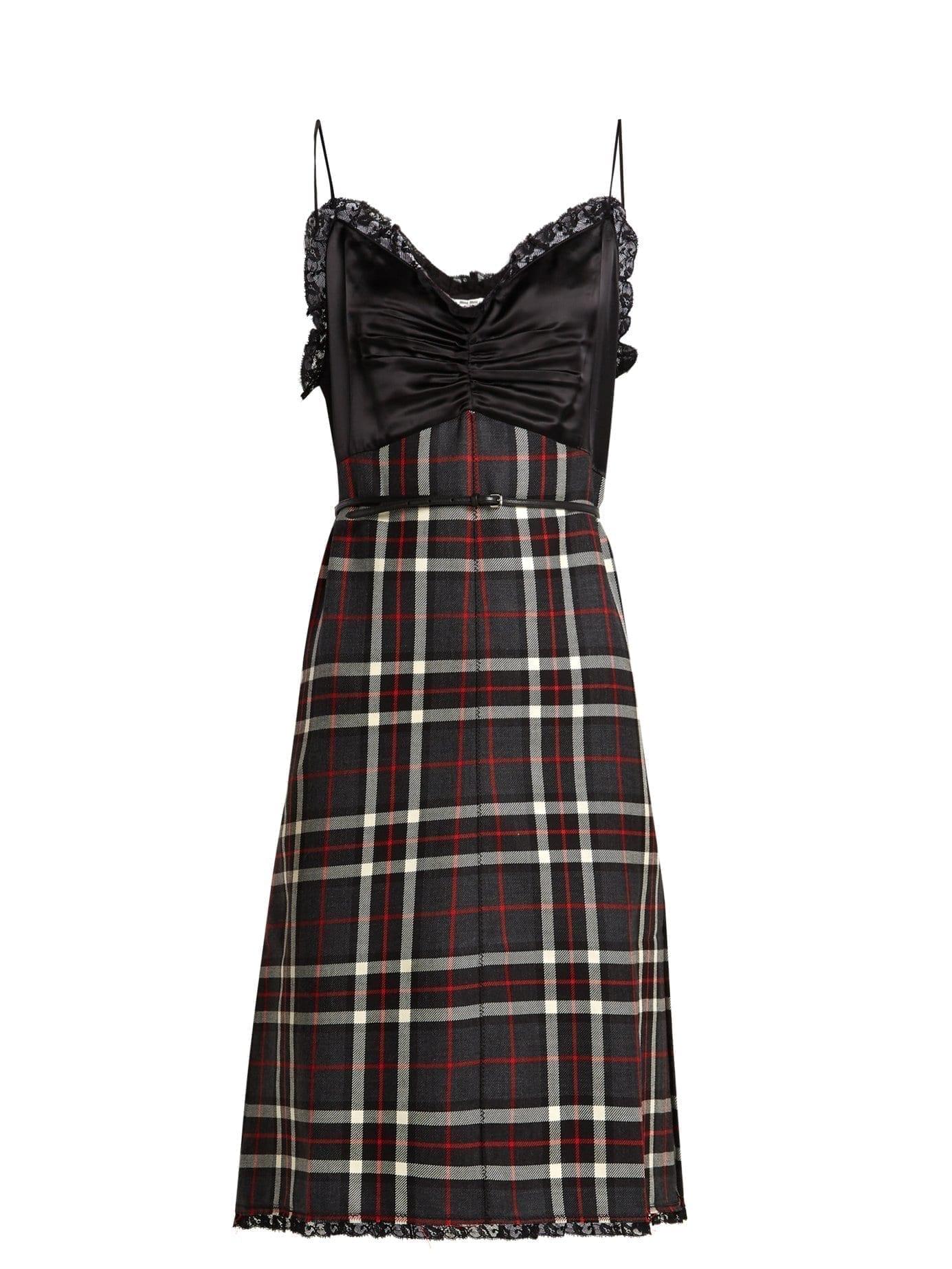 3d10ba013c MIU MIU Tartan Satin And Wool Cami Black Dress - We Select Dresses