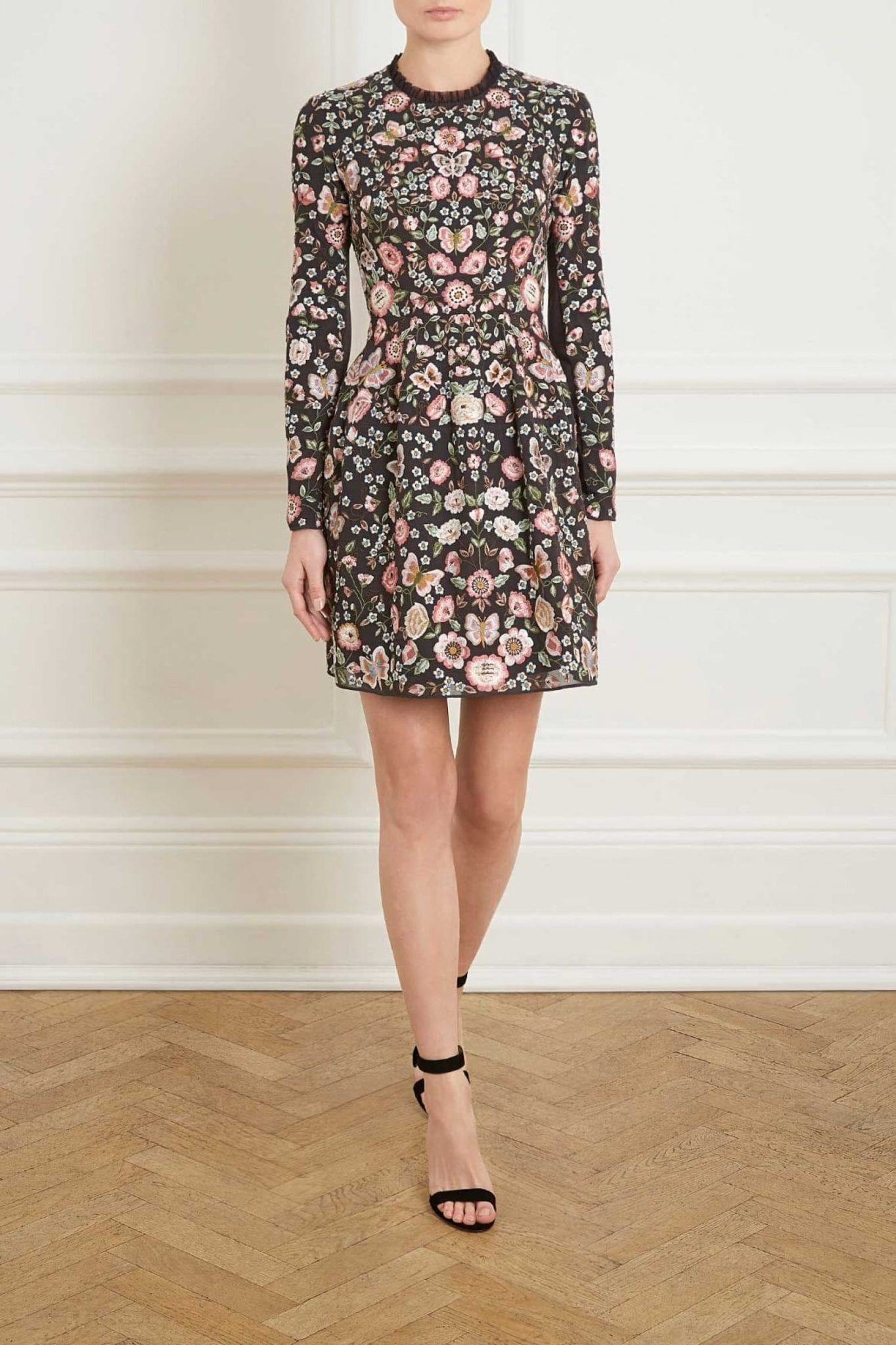 Needle And Thread Butterfly Rose Long Sleeve Prom Black Floral