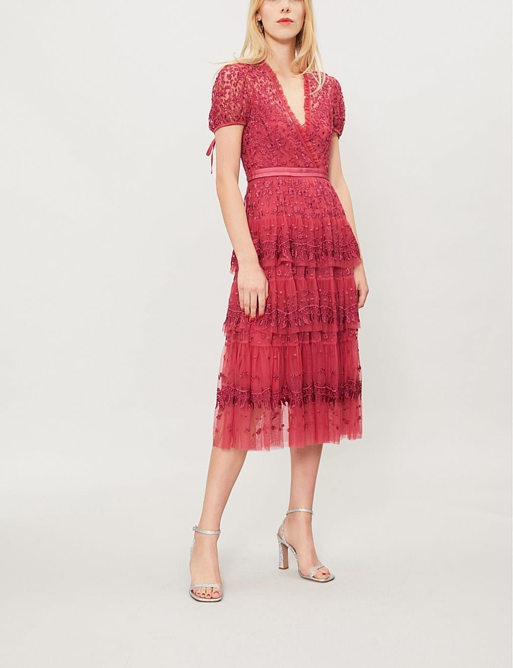 NEEDLE AND THREAD Heather Embroidered Tulle Red Dress