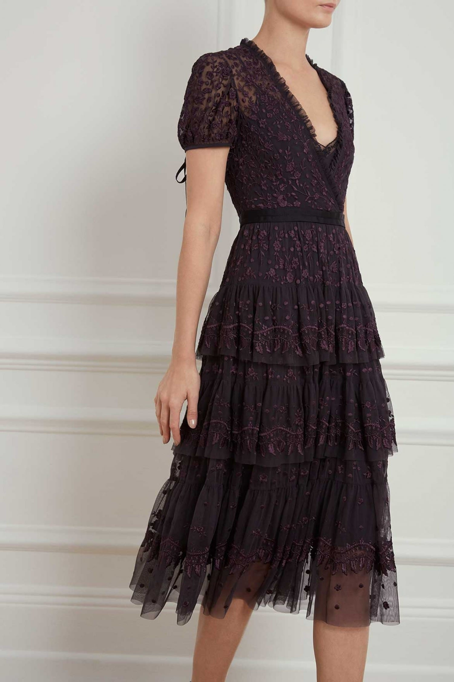 NEEDLE AND THREAD Layered Lace Black Dress