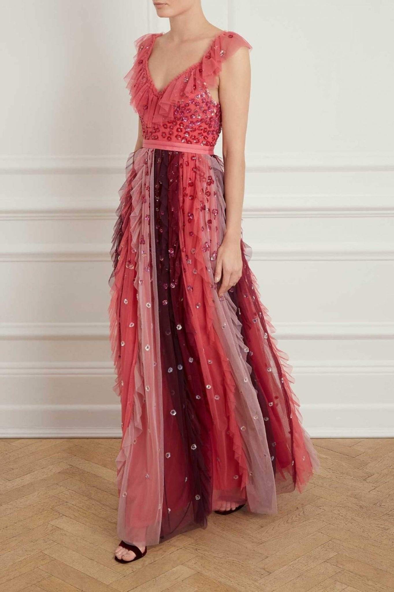 NEEDLE AND THREAD Rainbow Pink / Red Gown - We Select Dresses