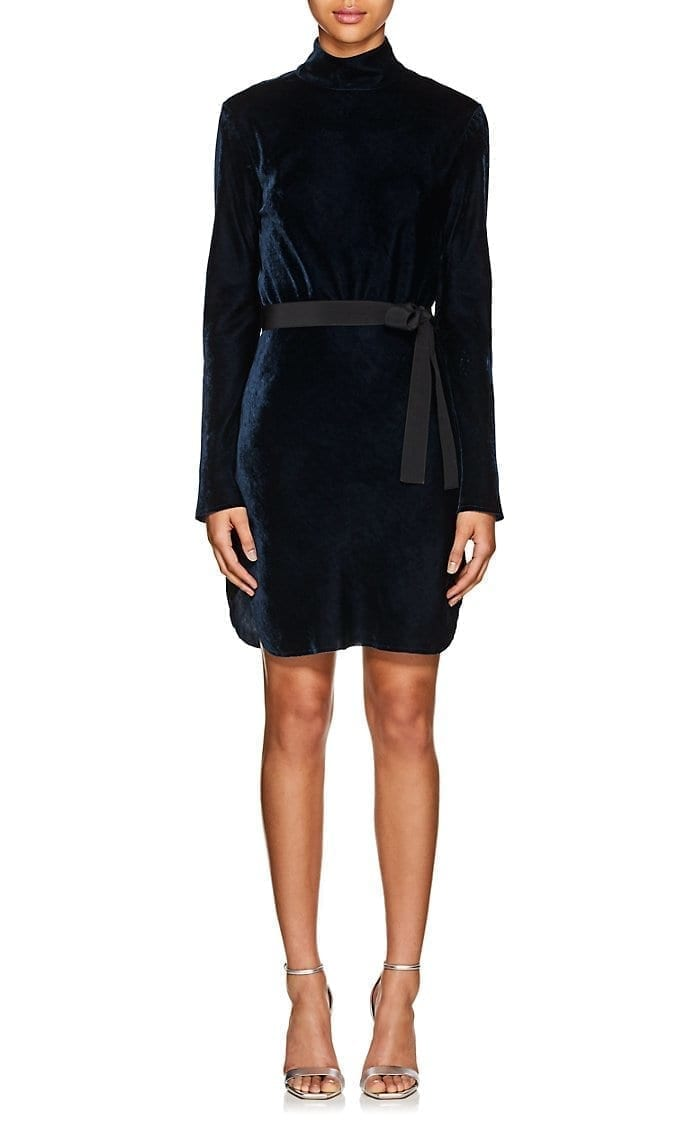 NILI LOTAN Genevieve Velvet Mock-Turtleneck Mini Navy Dress