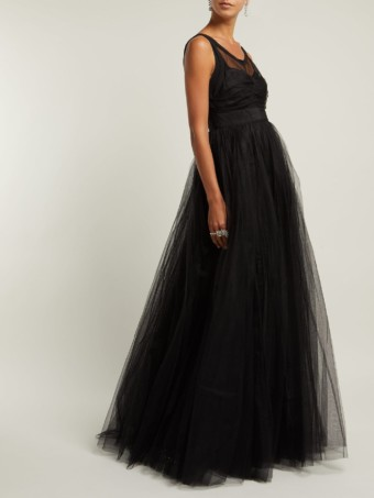 NO. 21 Tulle And Crepe De Chine Black Gown