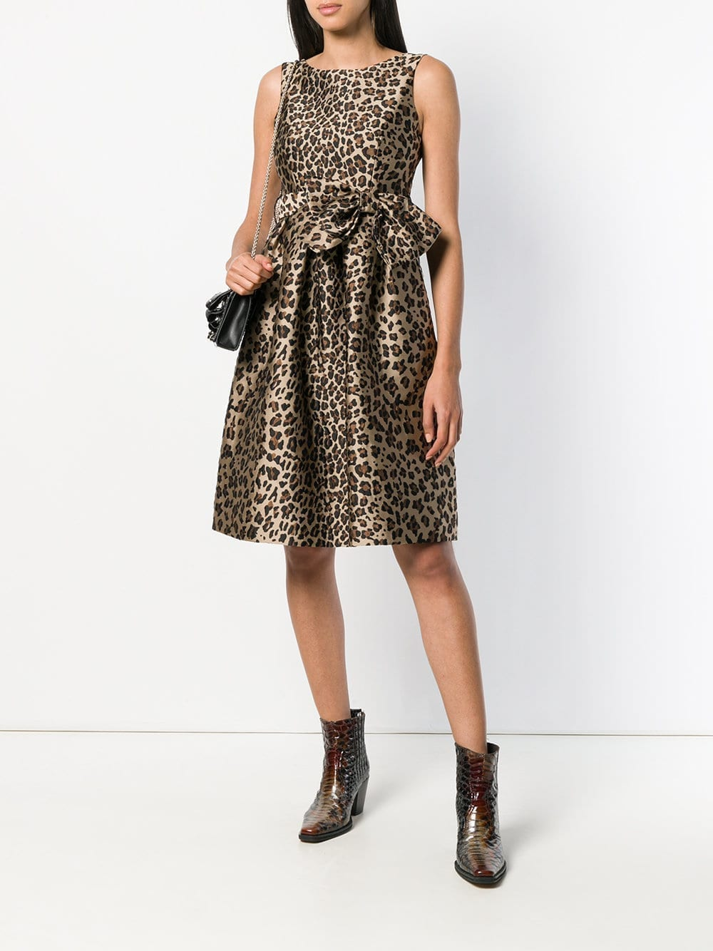 P.A.R.O.S.H. Bow Detail Leopard Print Brown Dress