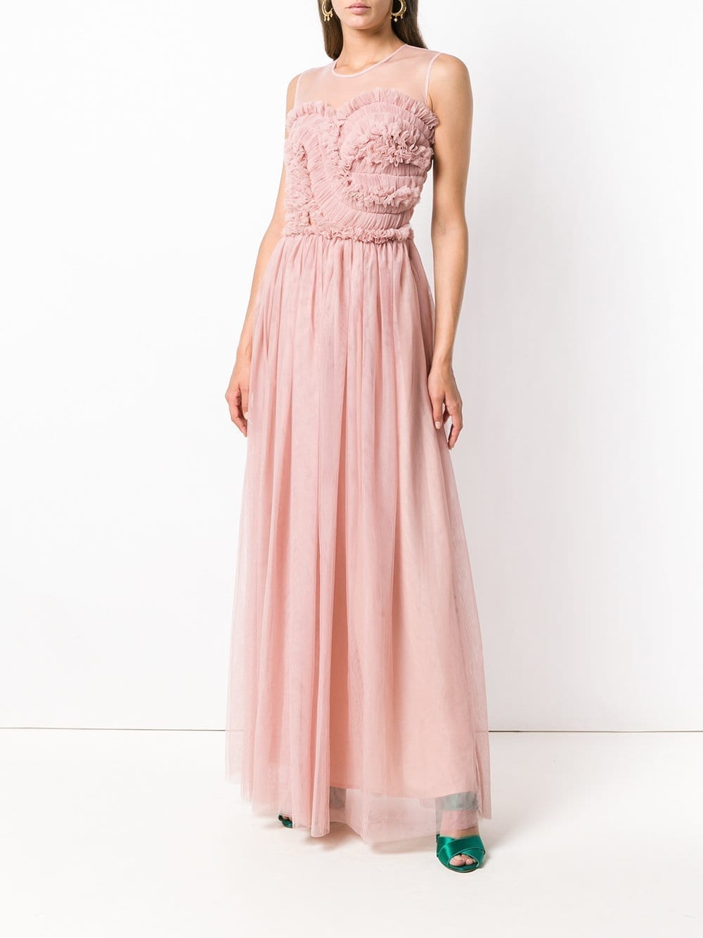 P.A.R.O.S.H. Frilled Bustier Light Pink Gown - We Select Dresses