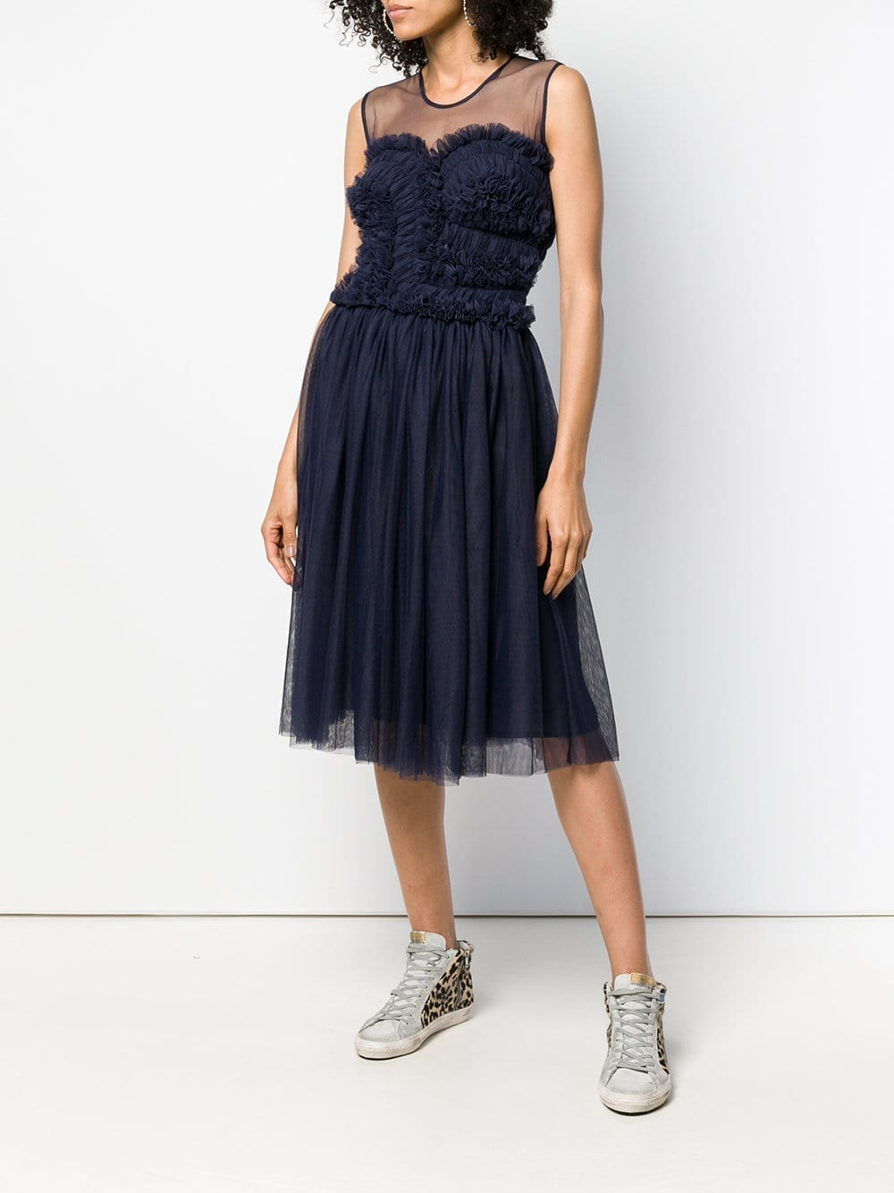 P.A.R.O.S.H. Ruffled Flared Navy Dress