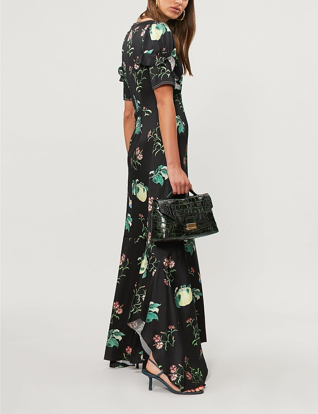 Peter Pilotto Fruit And Flowers Print Silk Black Gown We Select