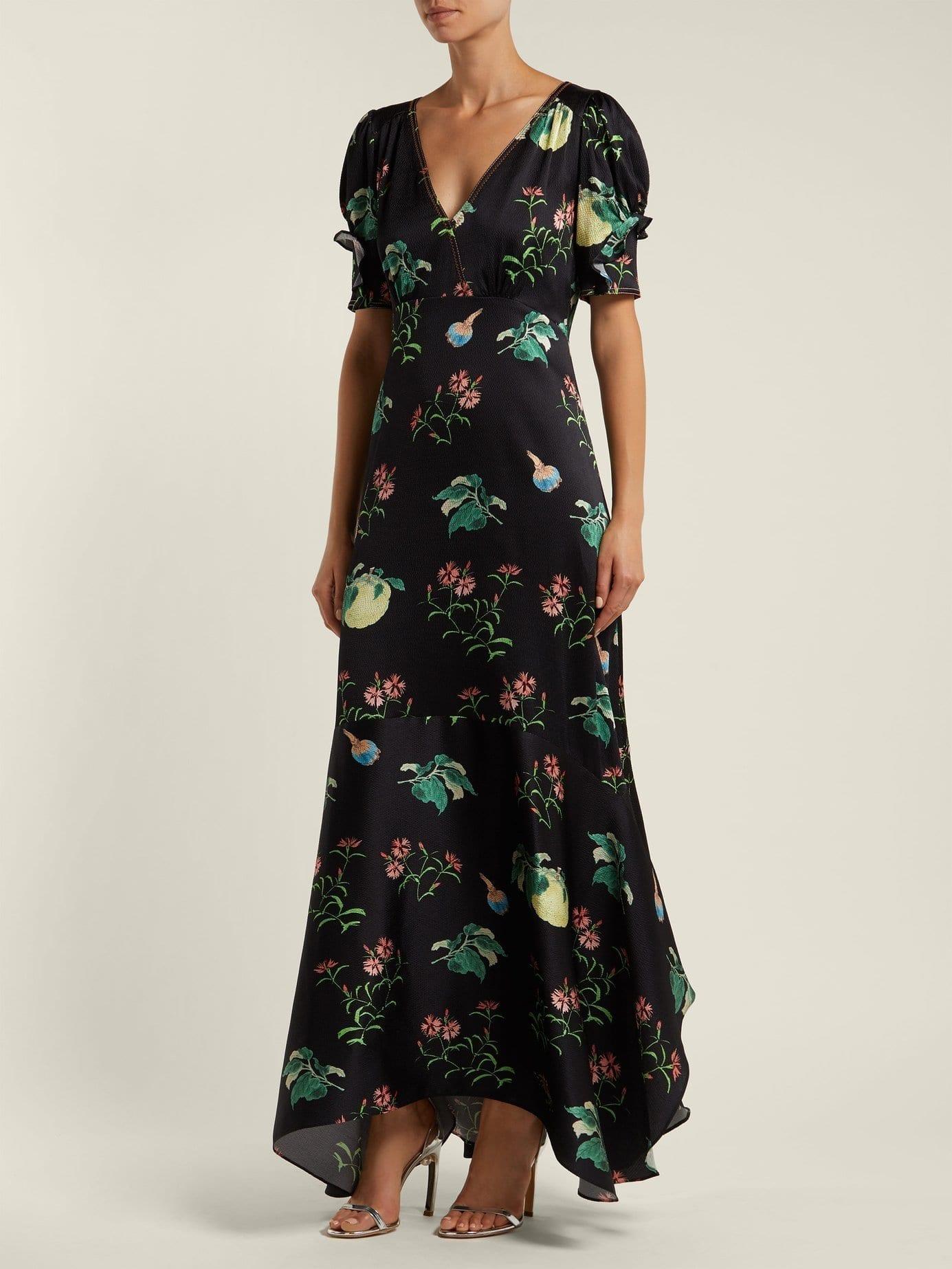 PETER PILOTTO Fruit Print Silk Midi Black Dress