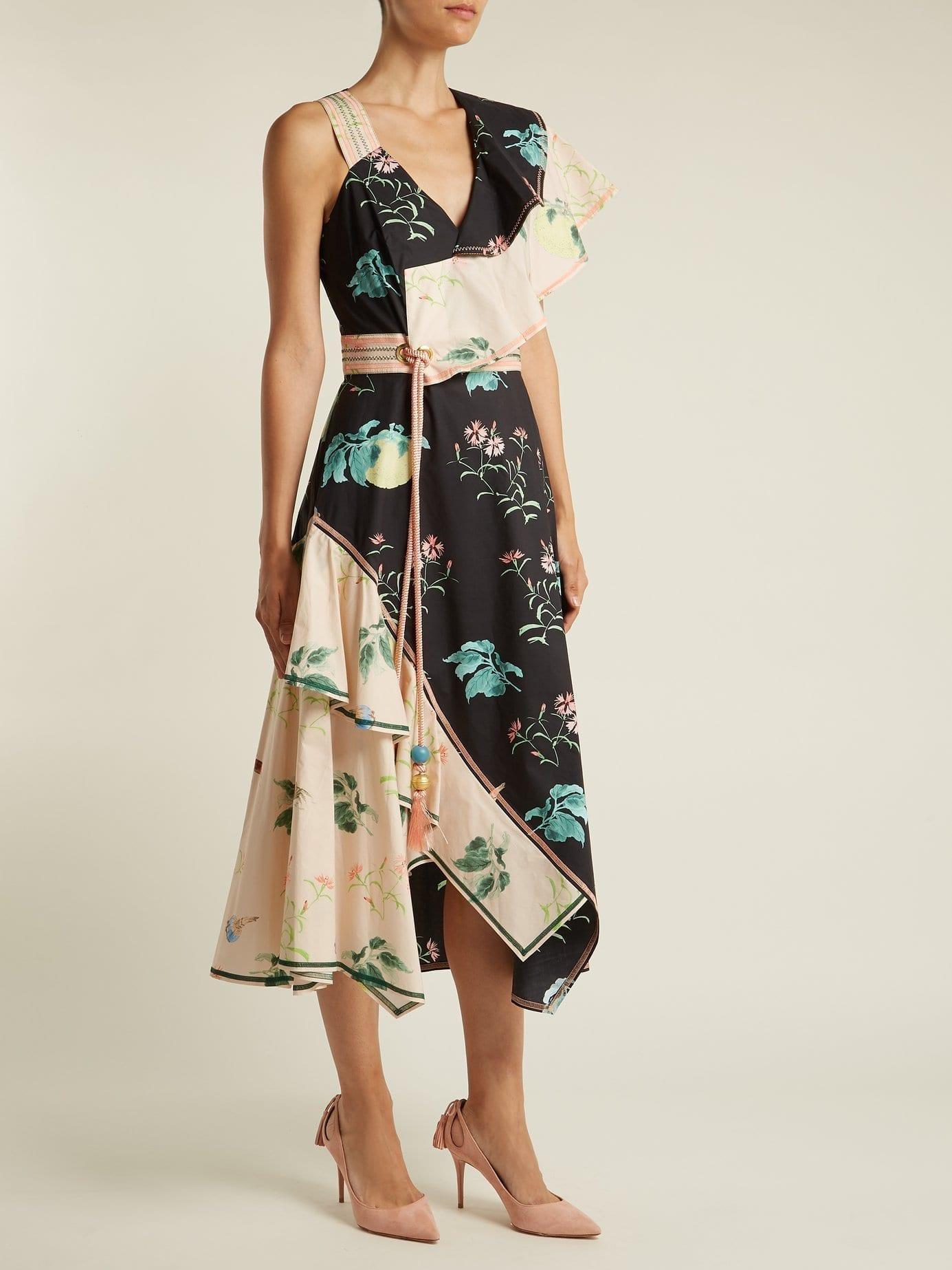 PETER PILOTTO One Shoulder Cotton Black / Floral Printed Dress