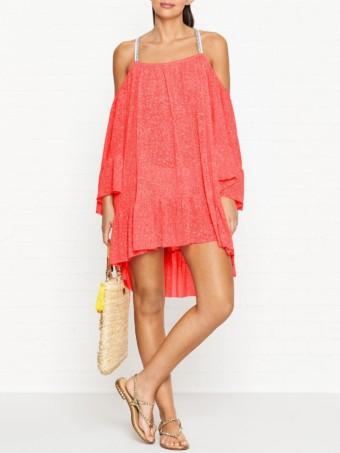 PITUSA Dancing Cold Shoulder Neon Pink Dress