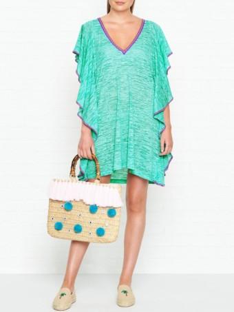 PITUSA Flare V Neck Mini Mint Dress