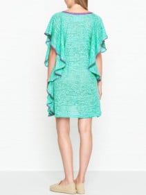 PITUSA Flare V Neck Mini Mint Dress
