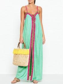 PITUSA Goddess Cheetah Print Maxi Mint Dress