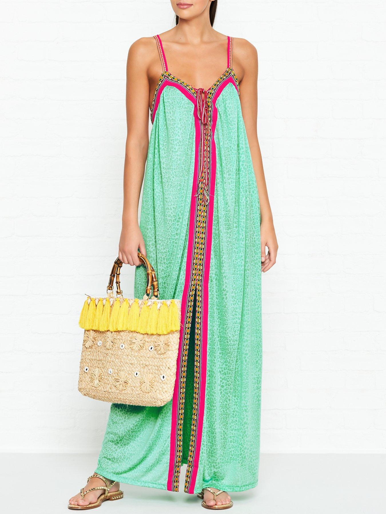 PITUSA Goddess Cheetah Print Maxi Mint Dress