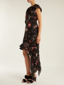 PREEN BY THORNTON BREGAZZI Ginny Gathered Silk Blend Chiffon Black Dress