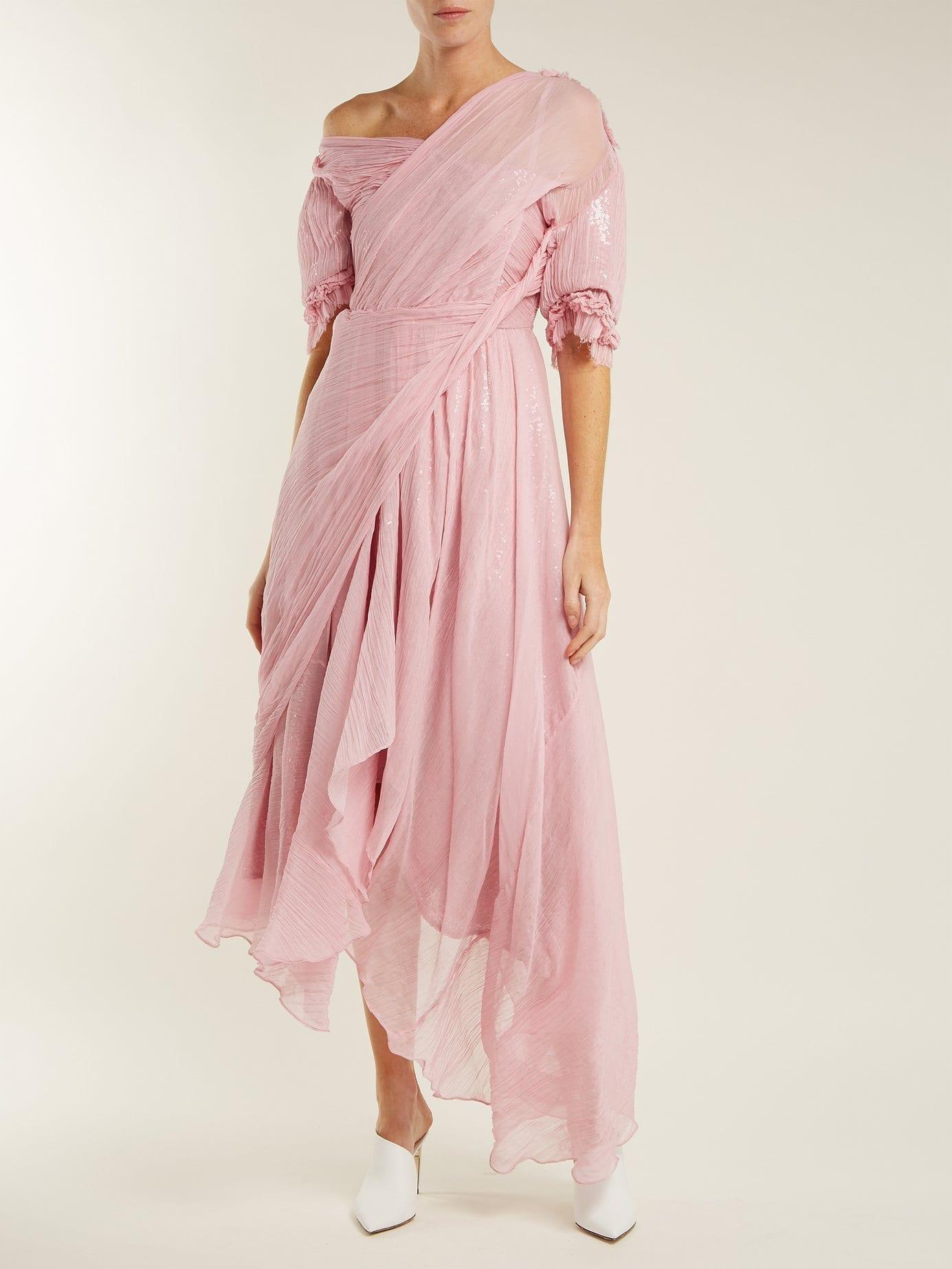 ea2656c5e0d PREEN BY THORNTON BREGAZZI Moira Asymmetric Silk Chiffon Pink Dress