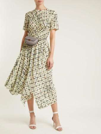 PREEN LINE Keziah Handkerchief Hem Midi Light Yellow / Floral Printed Dress
