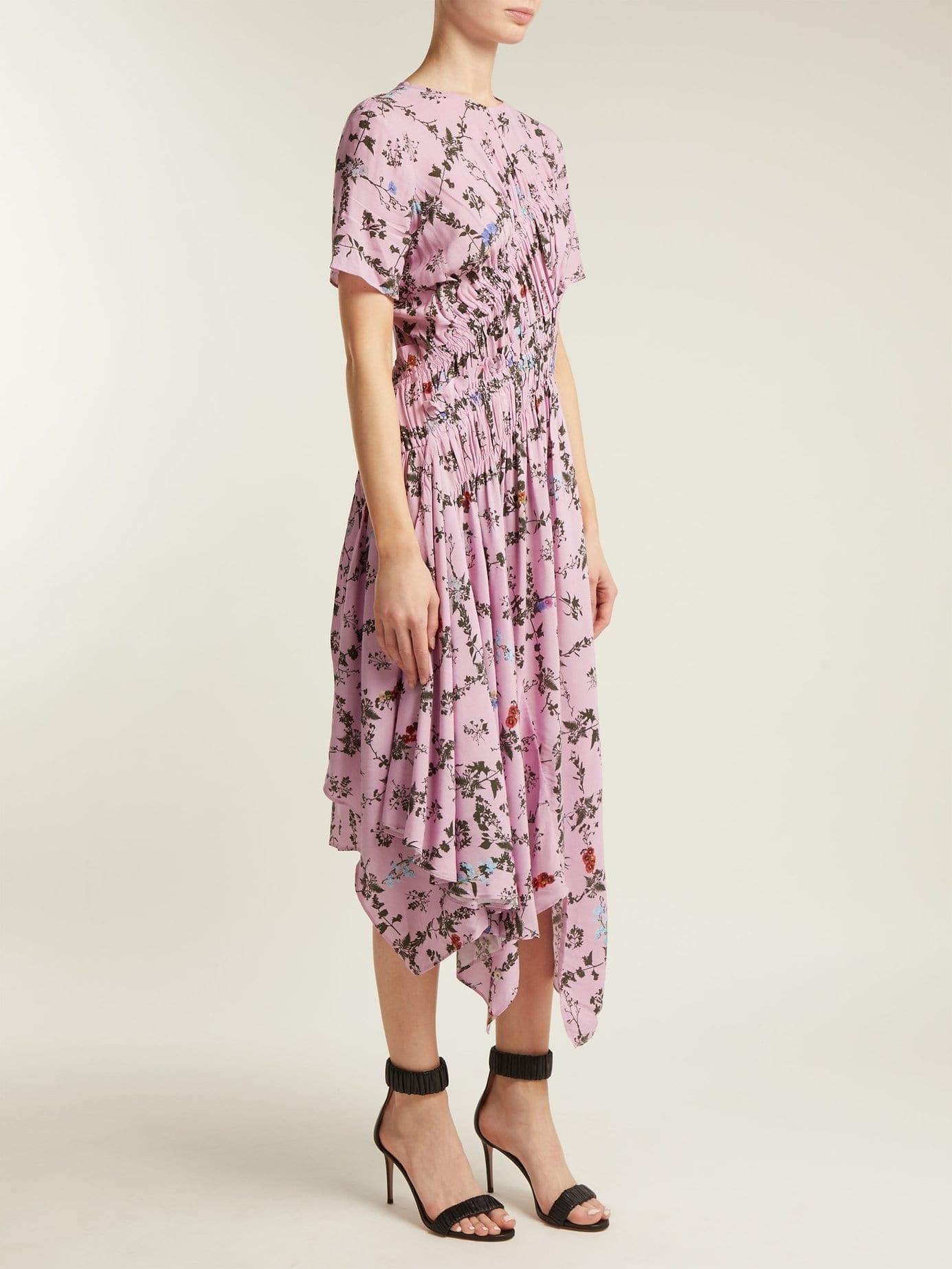 PREEN LINE Keziah Handkerchief Hem Midi Pink / Floral Printed Dress