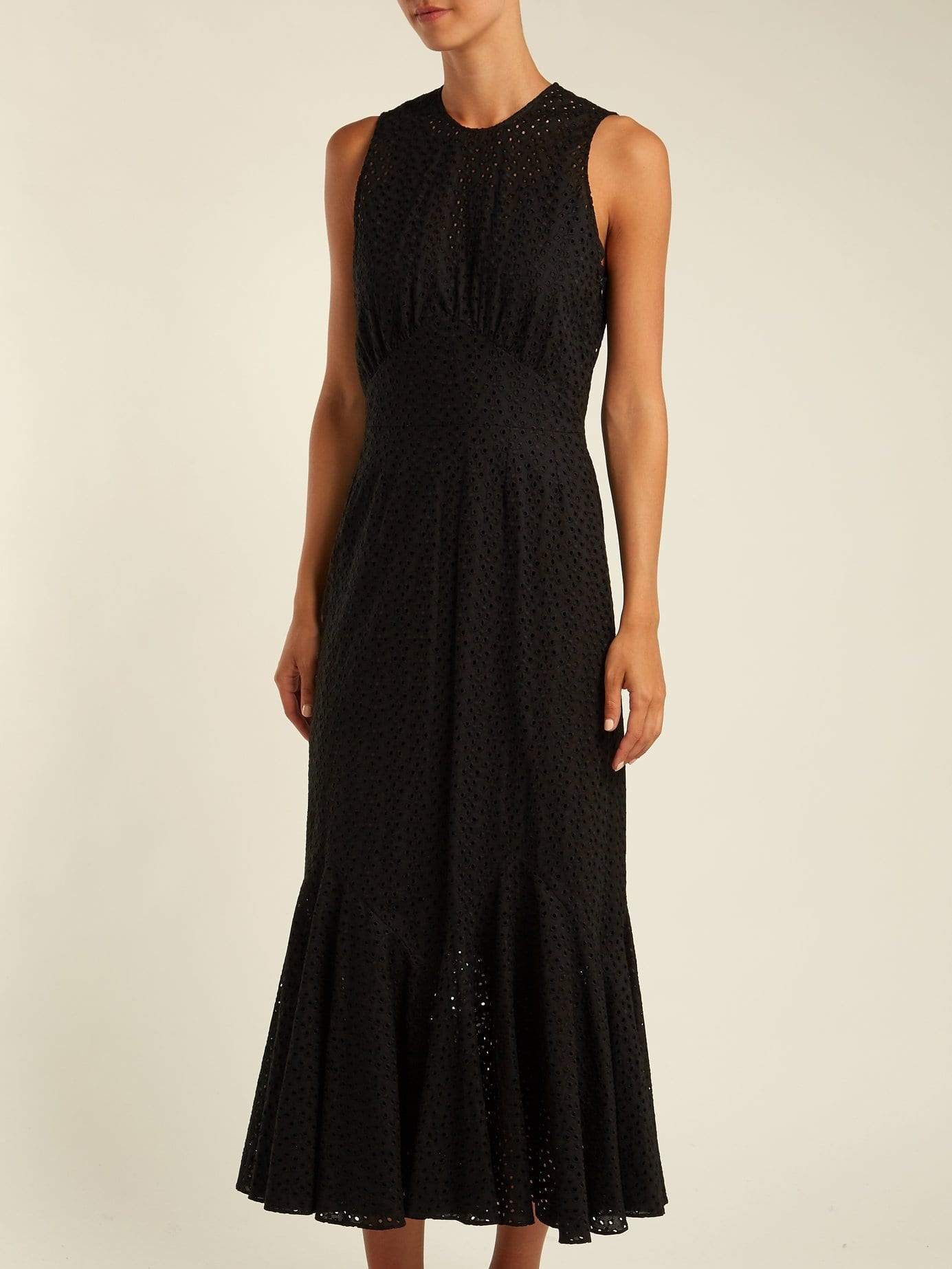 RAEY Broderie Anglaise Fishtail Black Dress - We Select Dresses