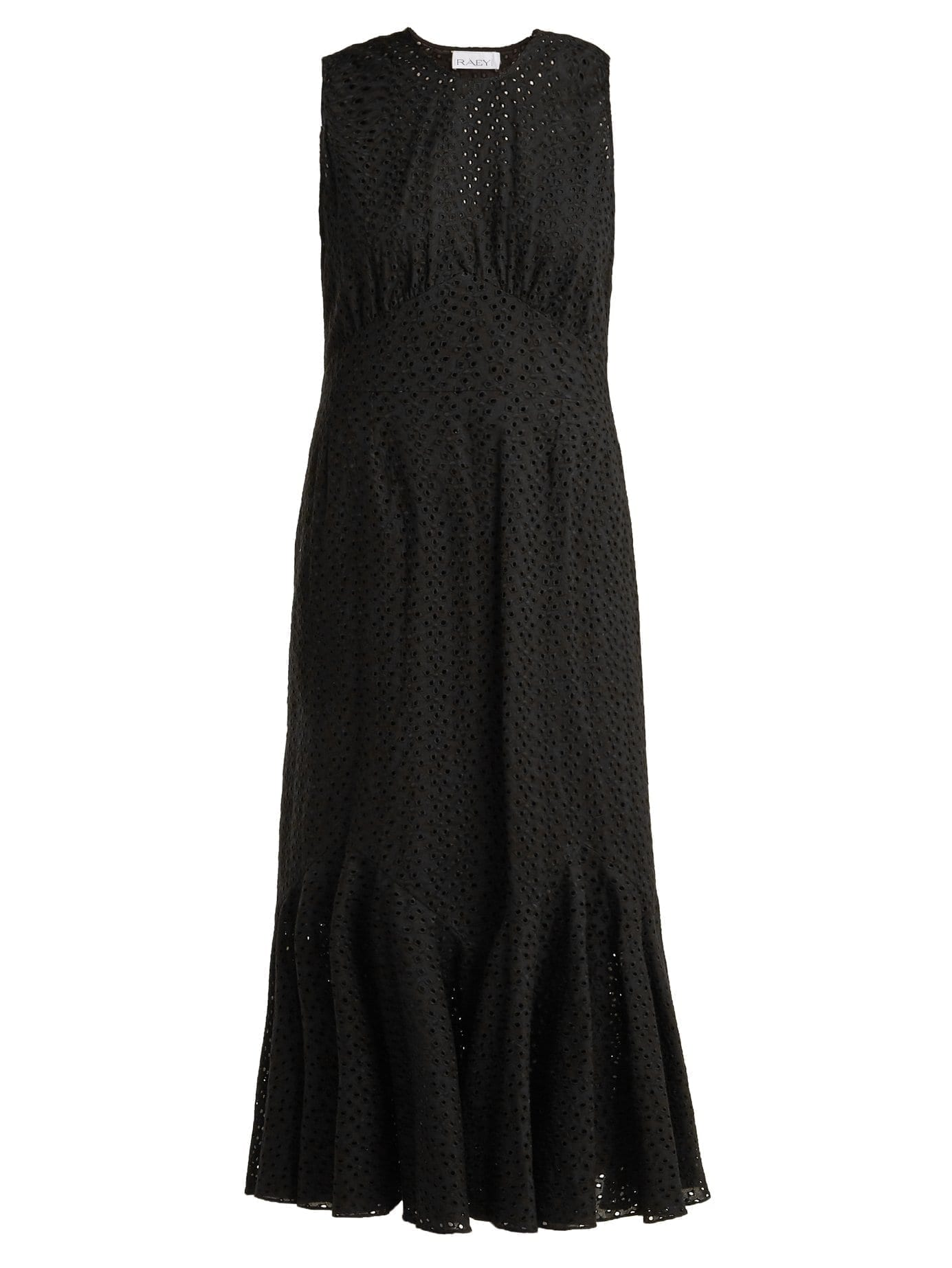RAEY Broderie Anglaise Fishtail Black Dress