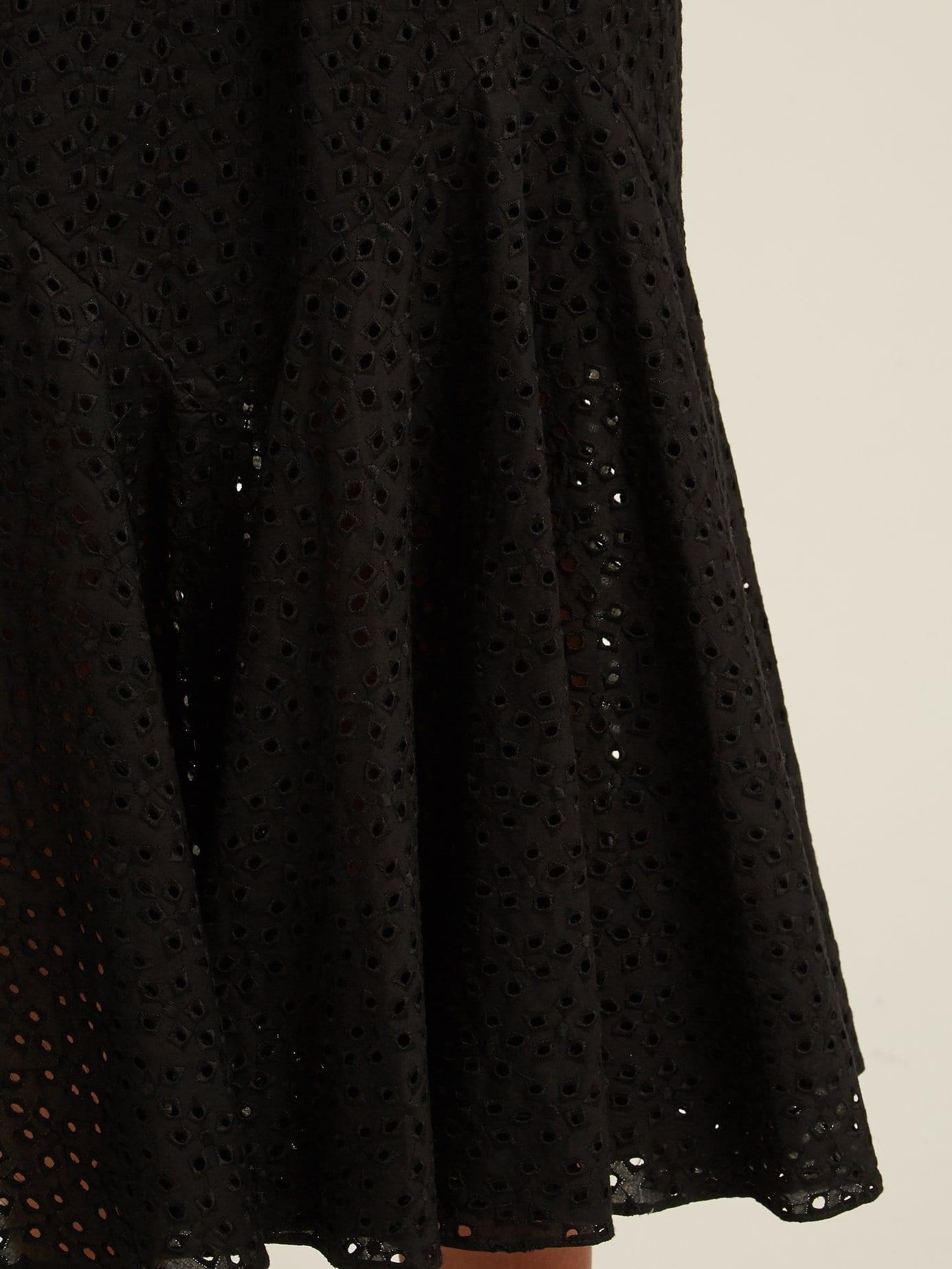 RAEY Broderie Anglaise Fishtail Black Dress