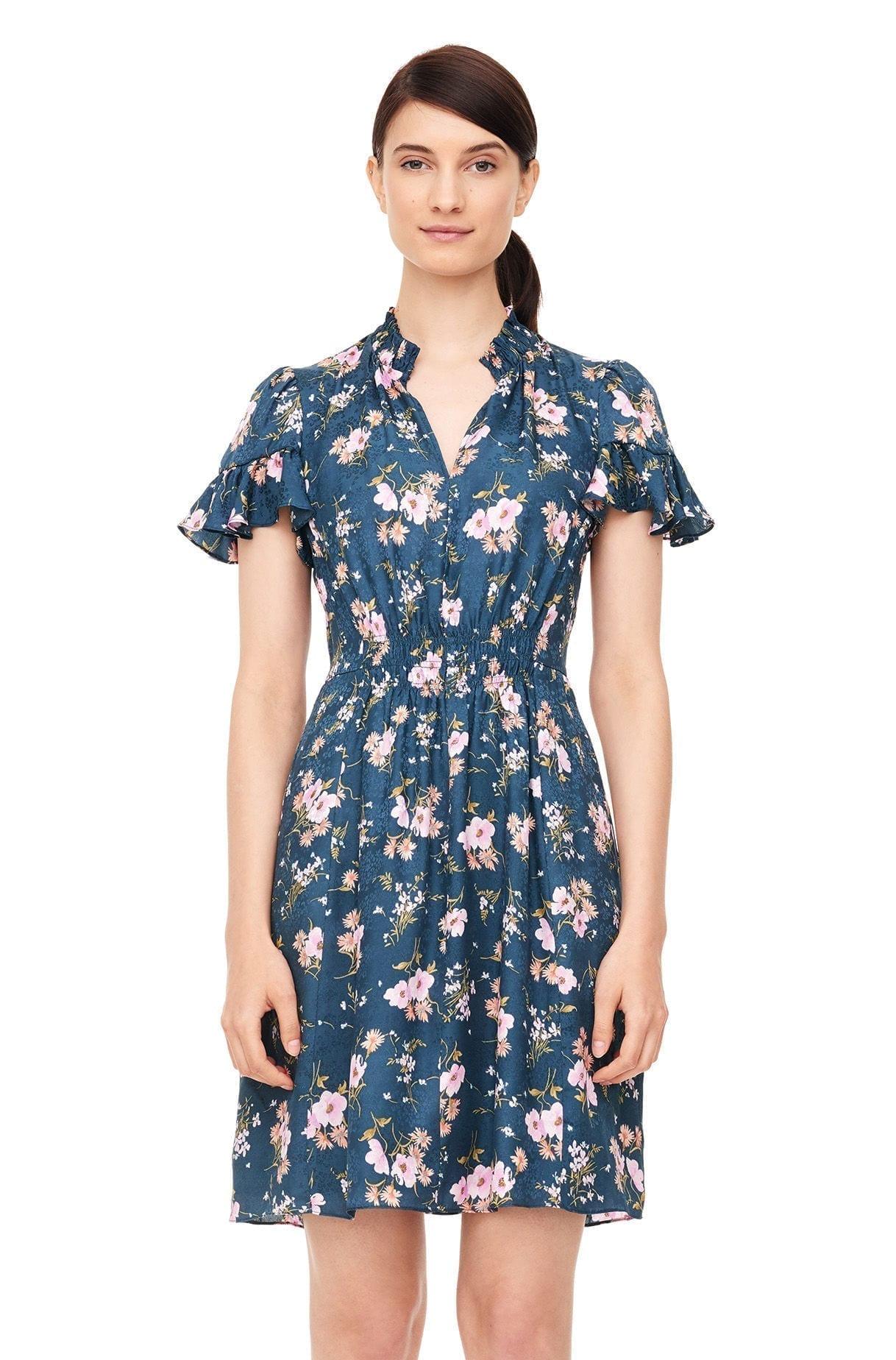 Rebecca Taylor Emilia Print Silk Jacquard Teal Dress