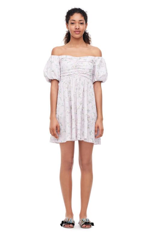 REBECCA TAYLOR La Vie Off-the-shoulder Adrienne Print Orchid Tint Dress