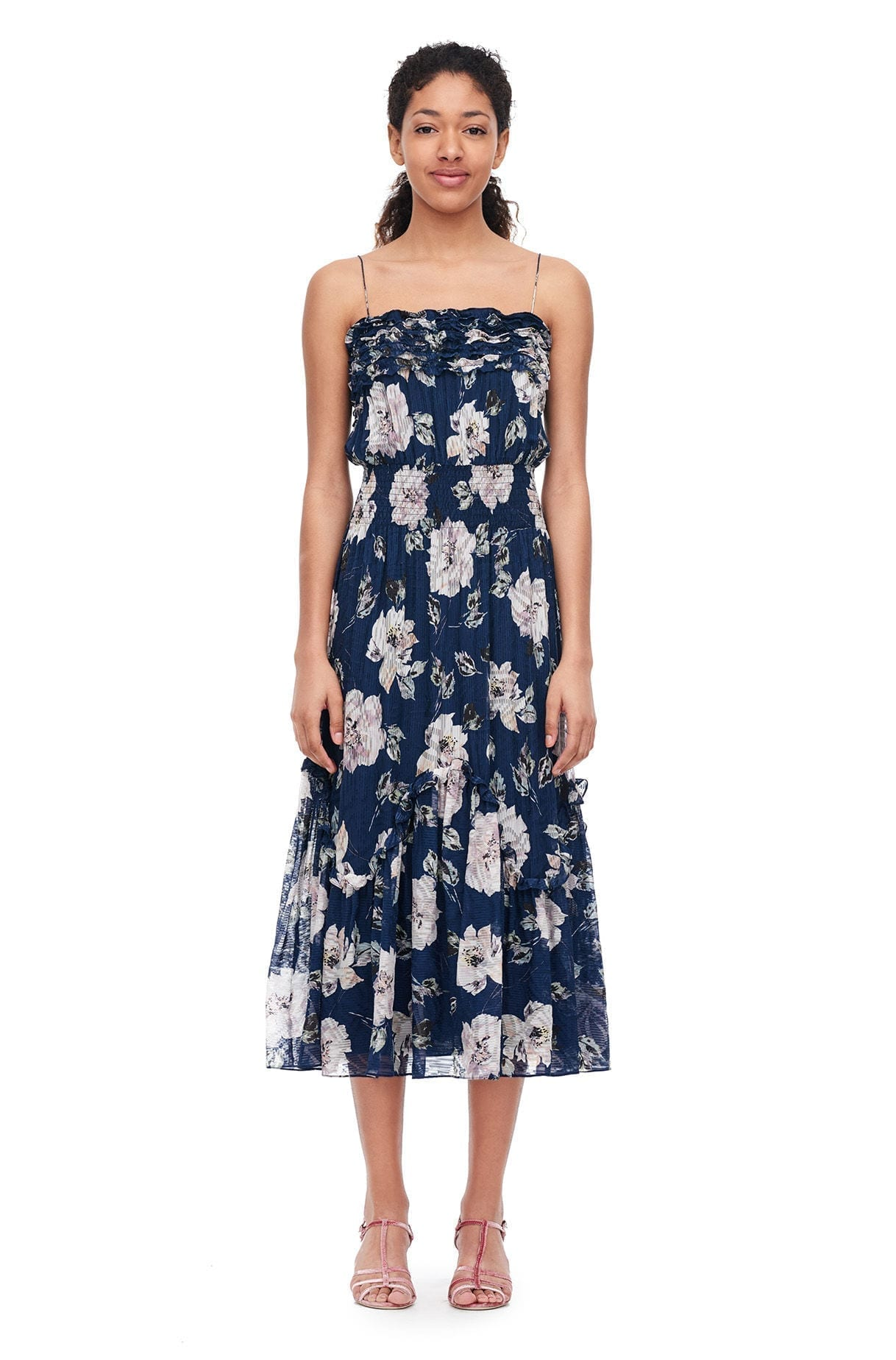 Rebecca Taylor Magnolia Silk Burnout Blueberry Fl Printed Dress