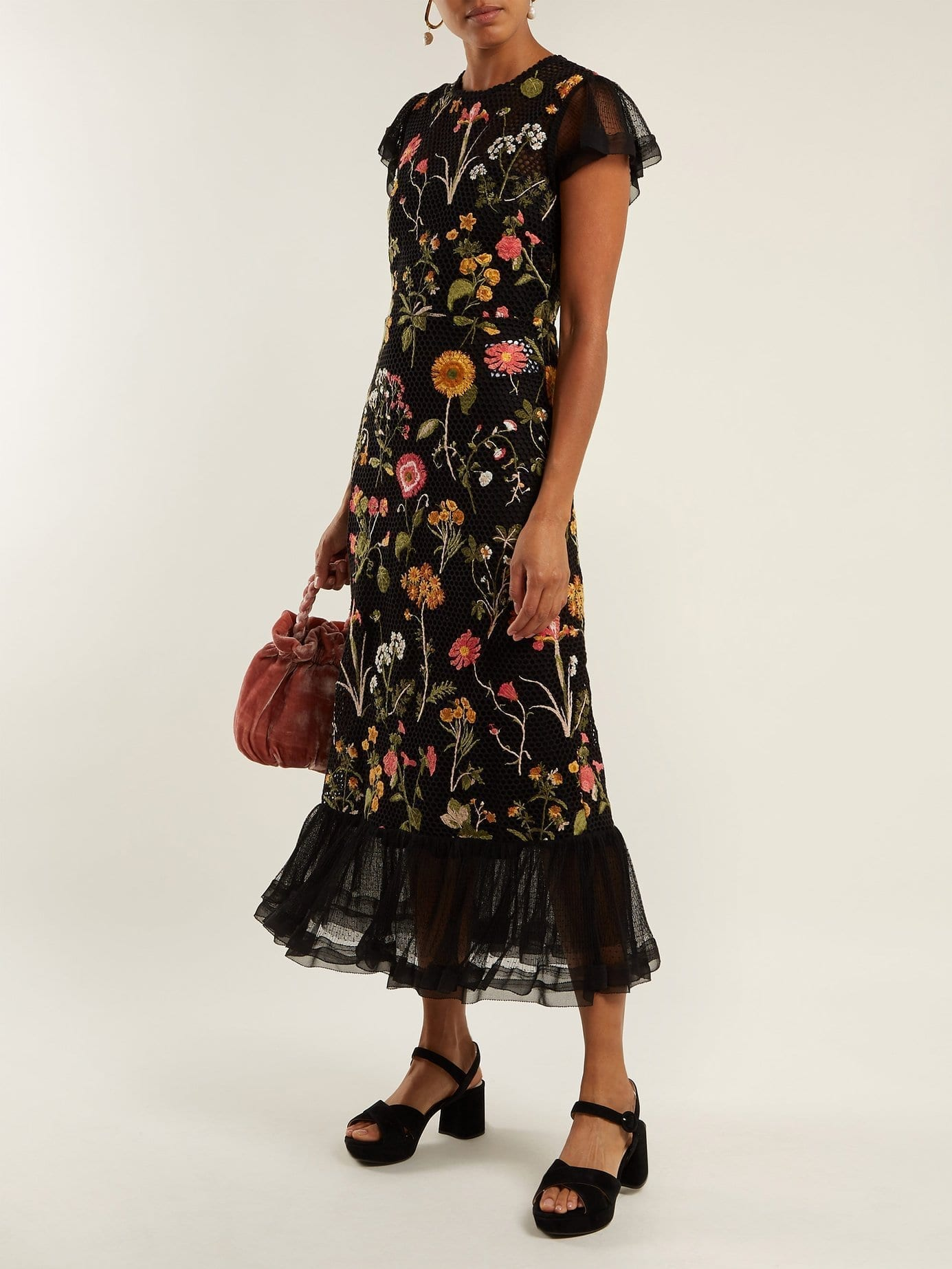 REDVALENTINO Floral Embroidered Cotton Mesh Black Dress