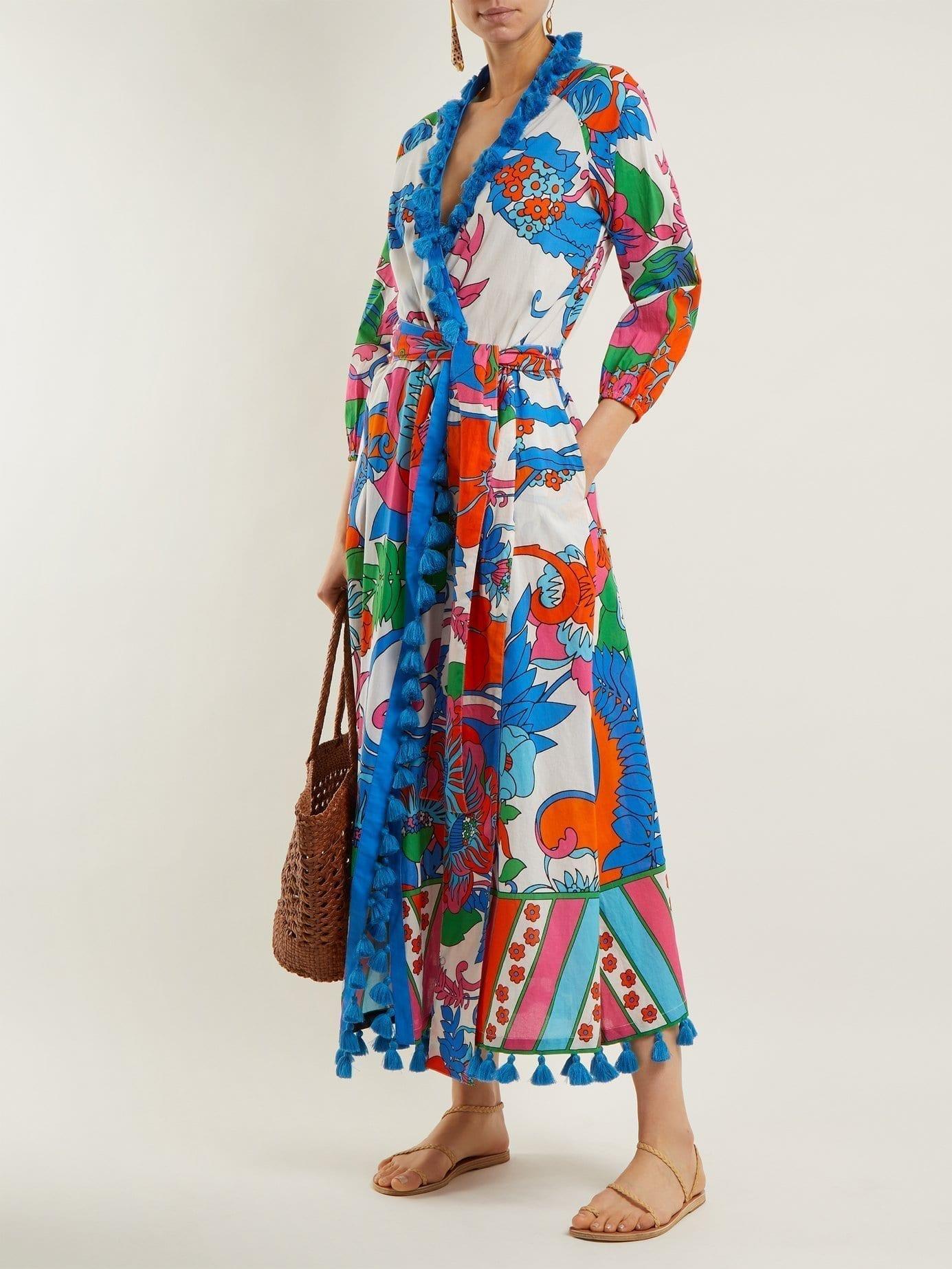 RHODE RESORT Lena Cotton Wrap White Floral Printed Dress