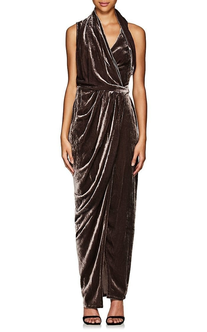 RICK OWENS Limo Draped Velvet Wrap Dark Purple Dress