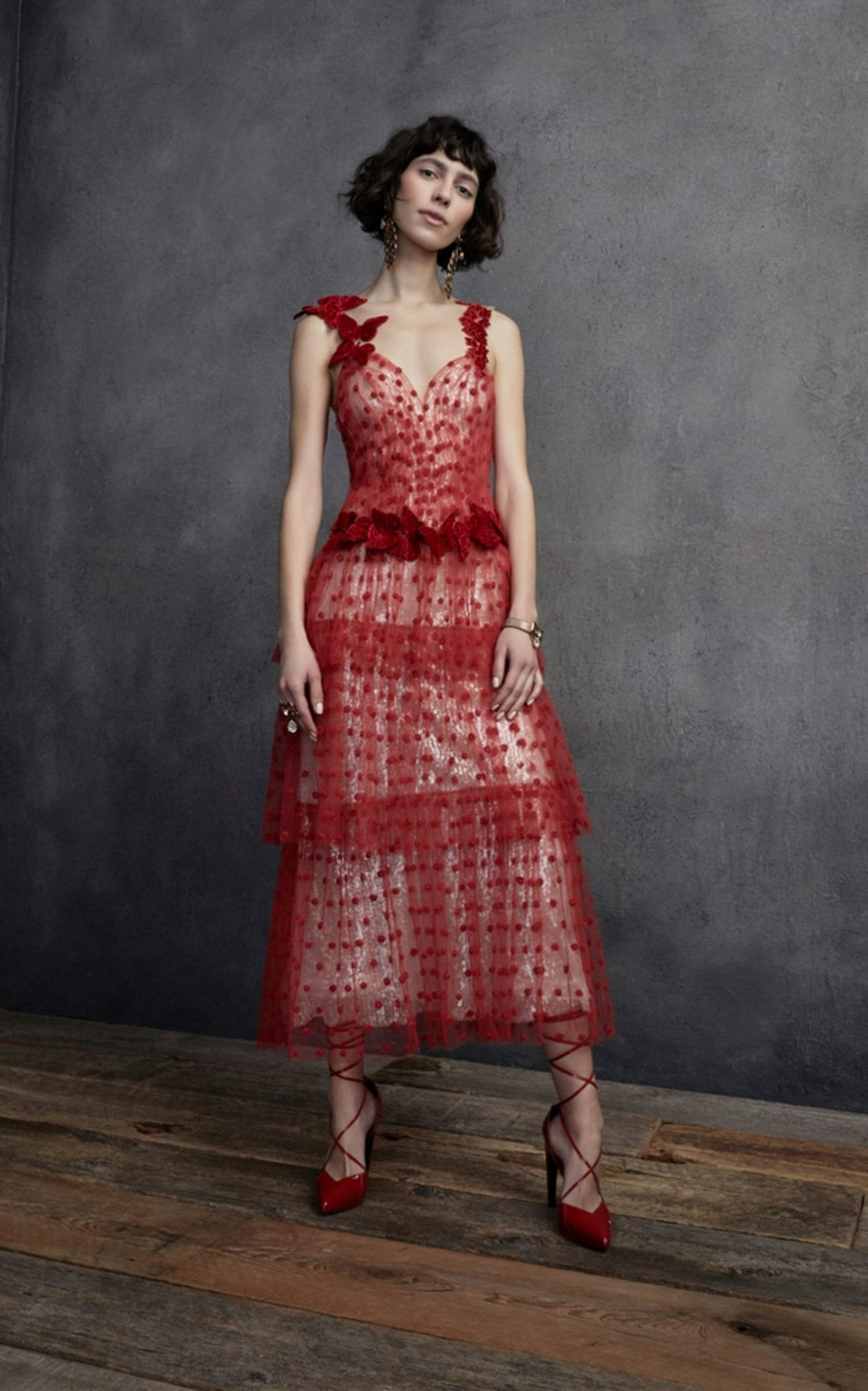 RODARTE Butterfly Tiered Tulle Maxi Red Dress
