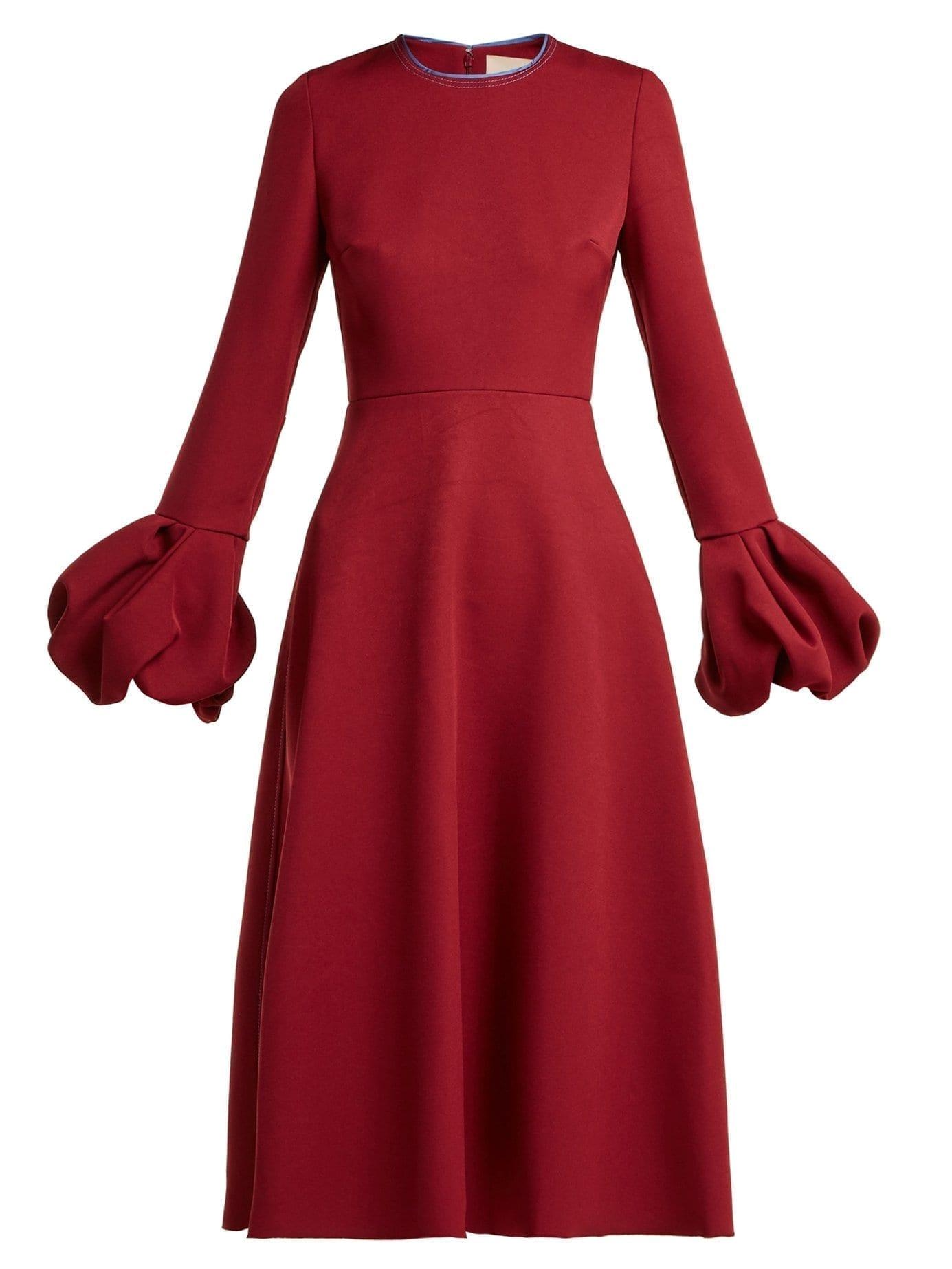 ROKSANDA Aylin Bell Sleeve Cady Burgundy Dress